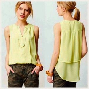 Anthro Maeve Lime Green Switchback Tank